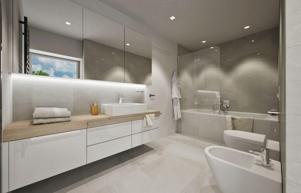 Neutrálna čistá kúpelňa v rodinnom dome