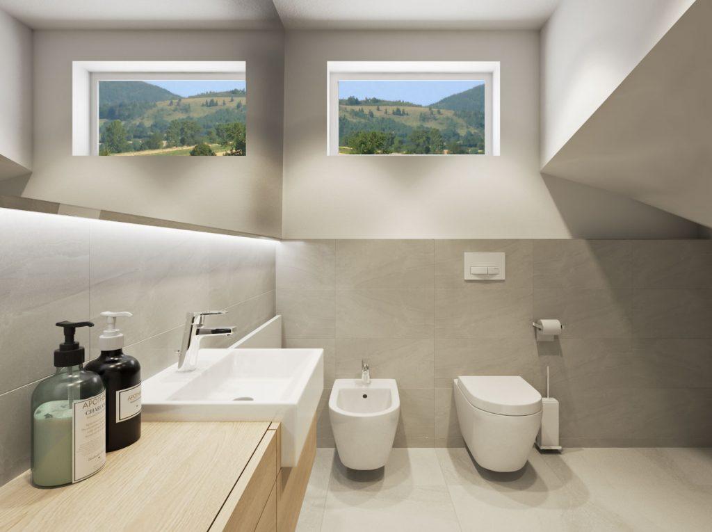 Netradičná kúpelňa pod schodami- horizontálne kontúry riešenia