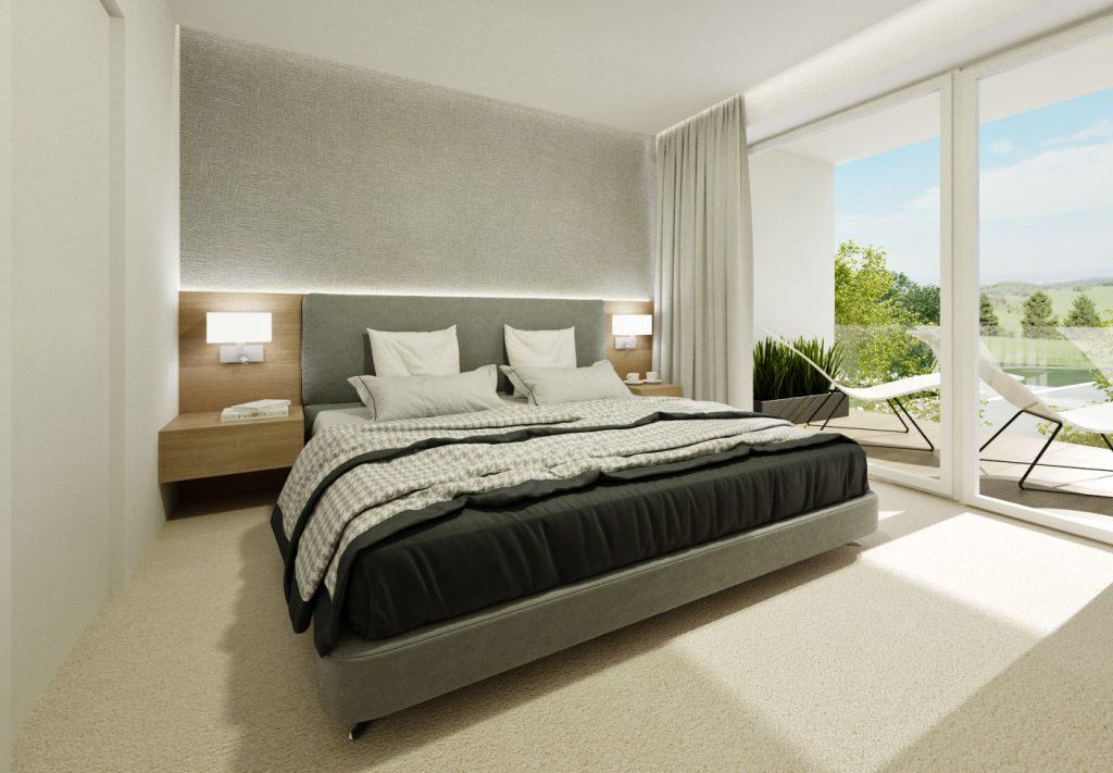 Moderná spálňa šedá-drevo