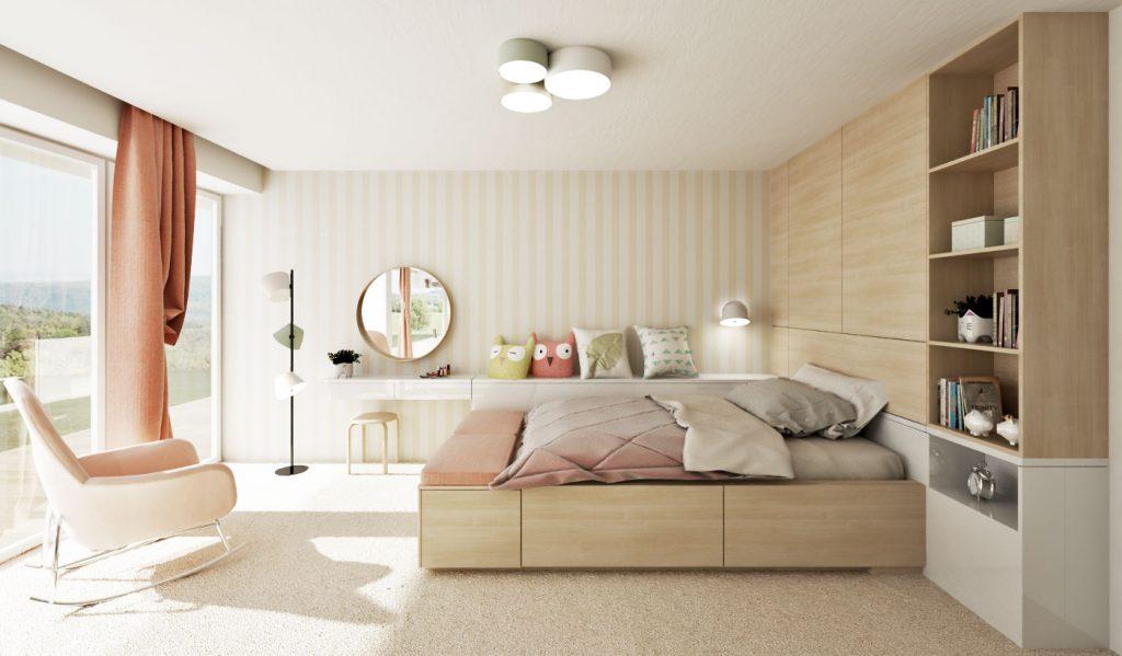 Detská izba pre dievča s veľa úložným priestorom