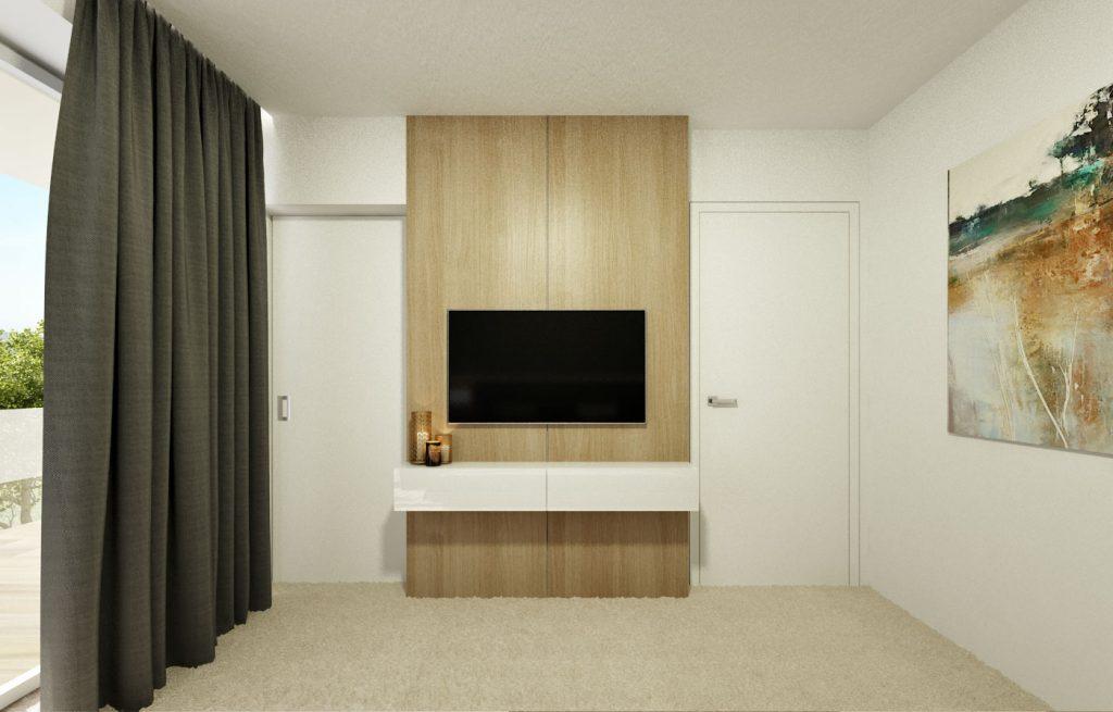 Drevo za TV v spálni