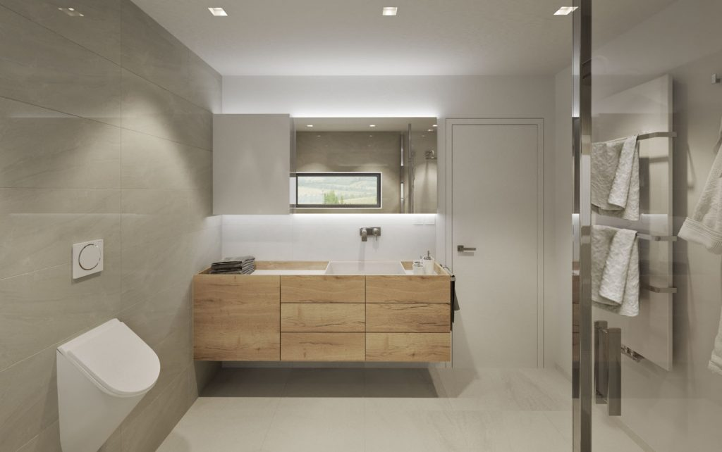 Neutrálna moderná kúpelňa s netradičnou skrinkou s umývadlom