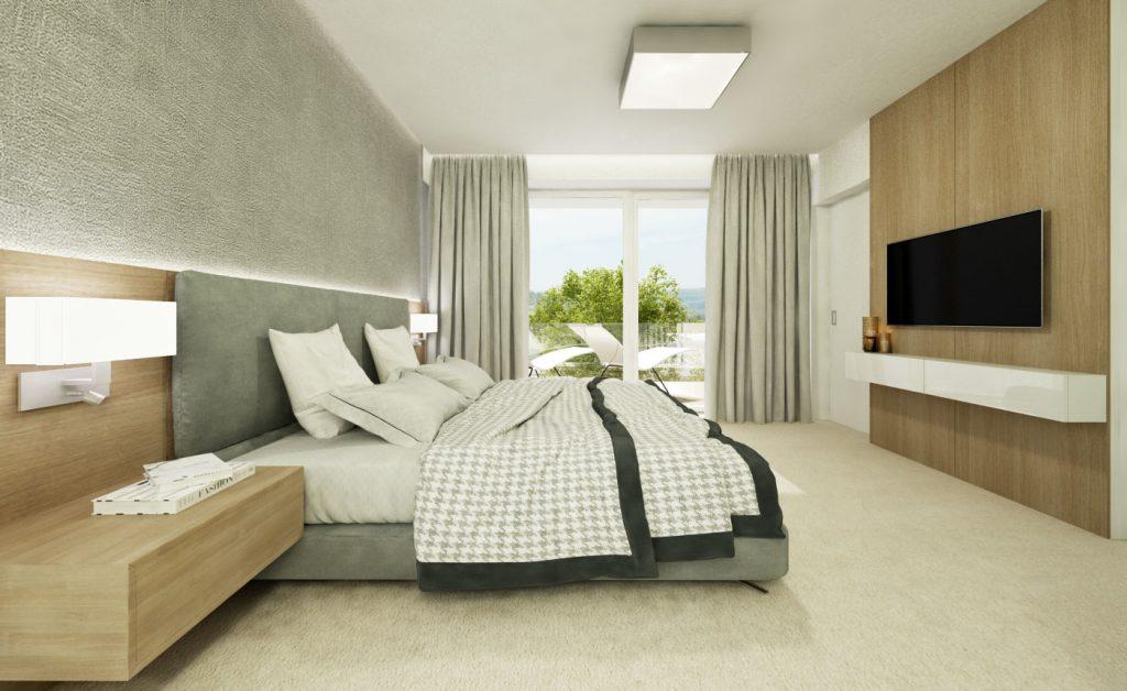 Návrh modernej spálne v neutrálnych onoch