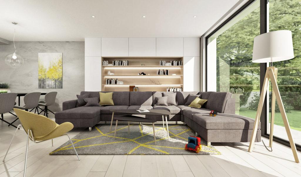 Moderná čistá knižnica v obývačke