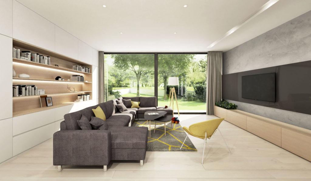 Moderná neutrálna obývačka so žltými akcentmi
