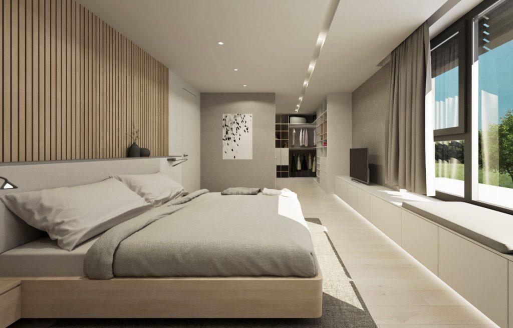Moderná spálňa s otvoreným šatníkom