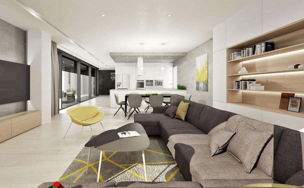 Moderný interiér s farebnými akcentmi