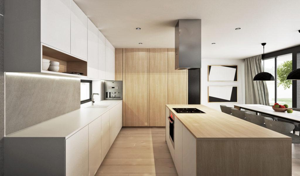 Kuchyňa- biela lesklá a drevo, skryté dvere do špajze