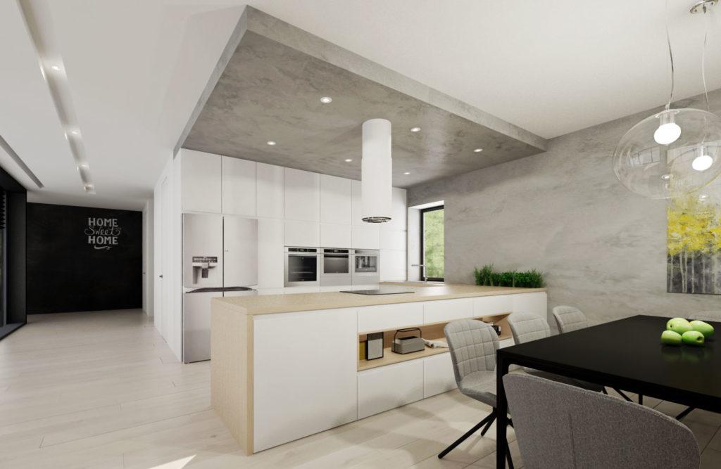 Kuchynská linka- biela a drevo