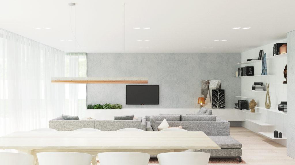 Jedálenský kút a obývačka v pozadí