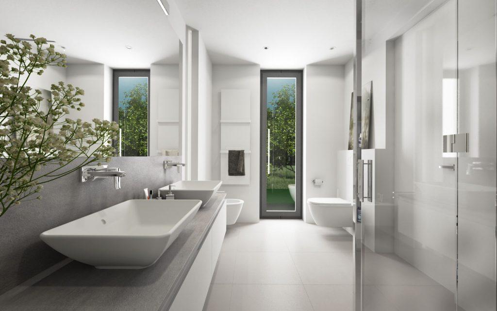 Bielo- sivá moderná kúpeľňa