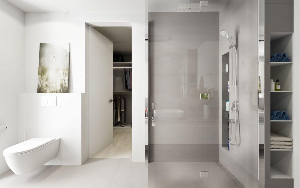 Moderný sprchový kút s nikou na šampóny