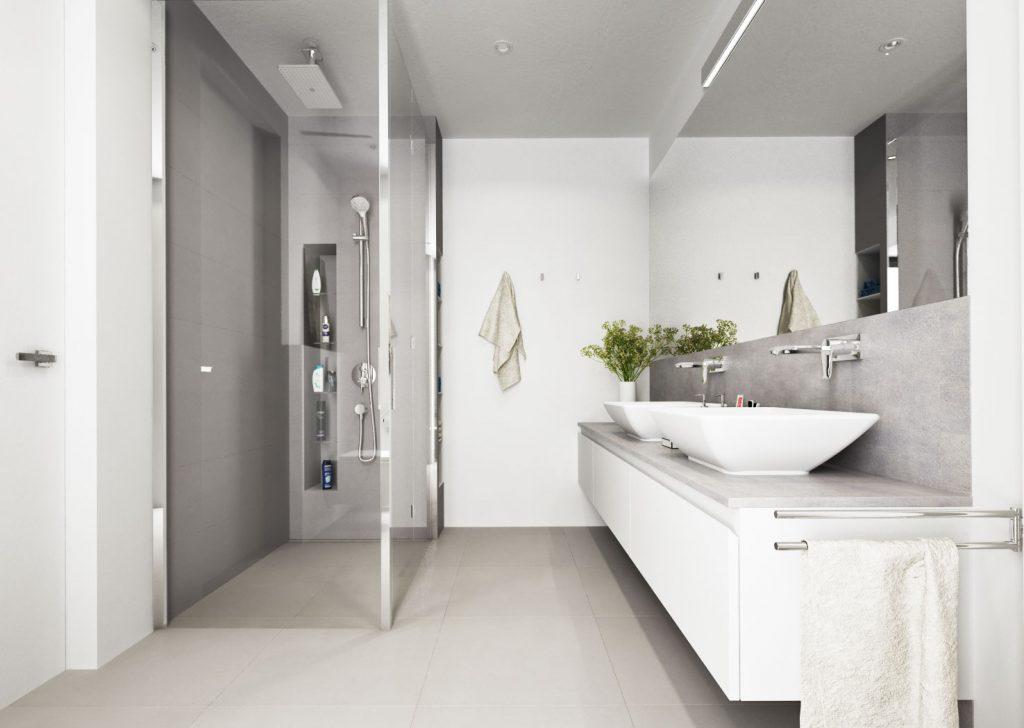 Kúpeľňa s minimom obkladov