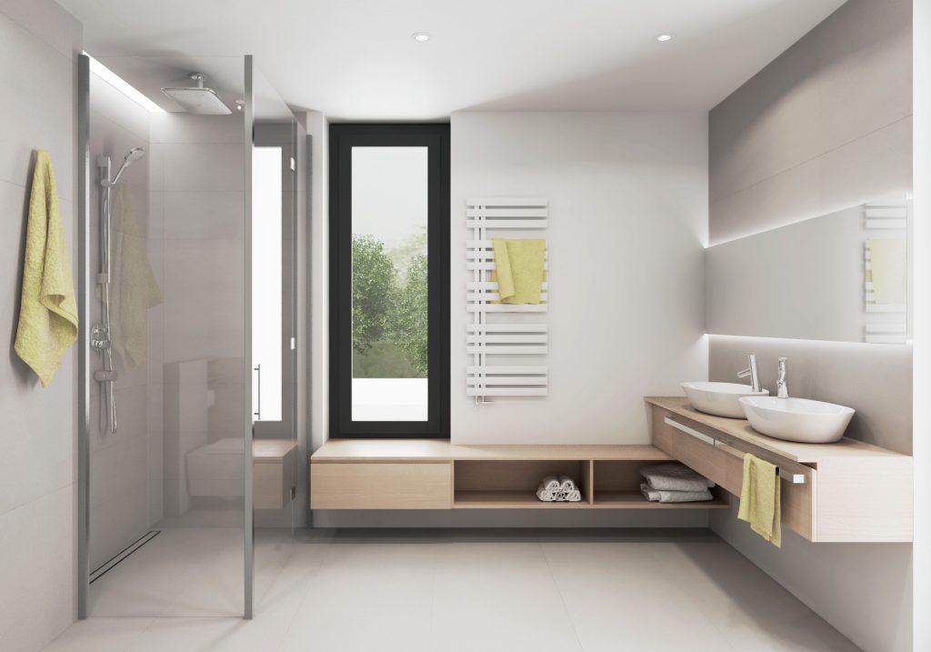 Drevená umývadlová skrinka s umývadlami na doske