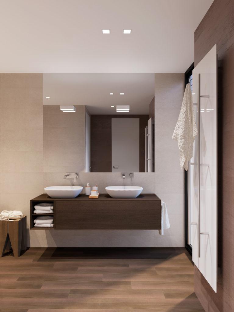 Skrinka s umývadlami a stolček pri vani na uteráky