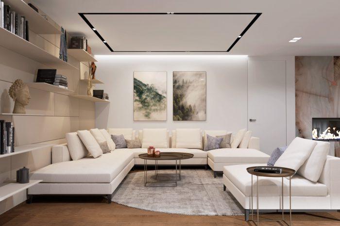 Moderná neutrálna obývacia izba s jemnou knižnicou