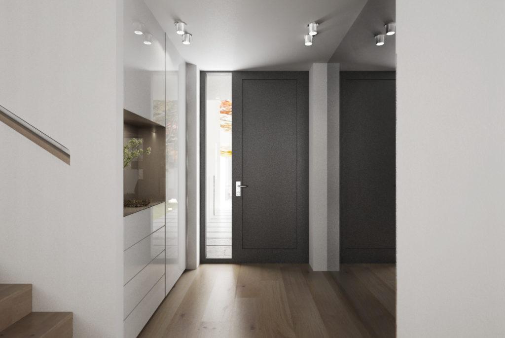 Vstupné zádverie- úložný priestor a skryté dvere do garáže