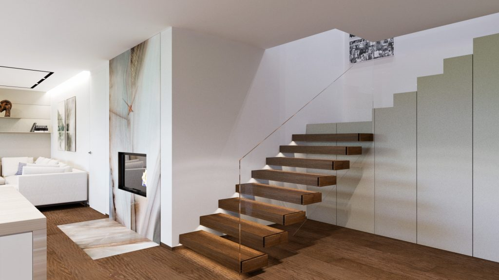 Jednoduché konzolové schodisko so skleným zábradlím