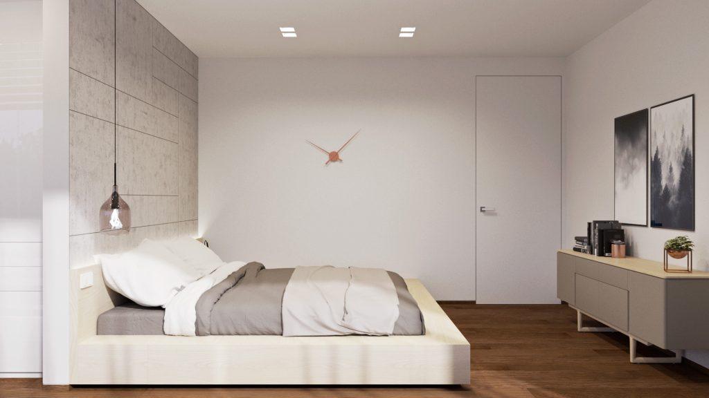 Jednoduchá moderná svetlá spálňa