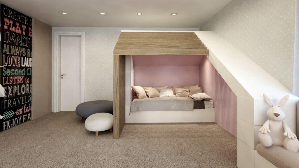 Jemná detská izba s dreveným domčekom