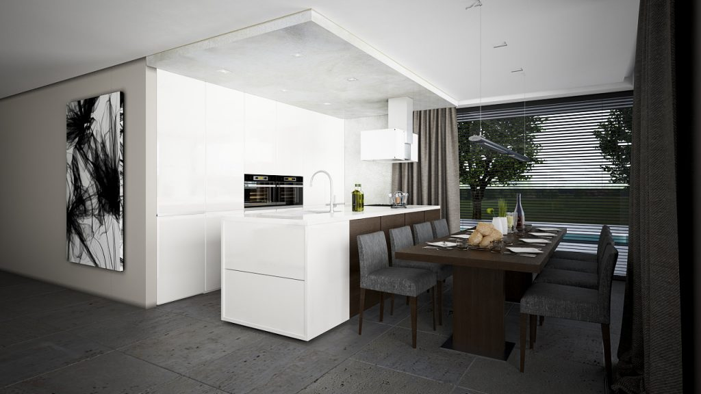 Moderná biela kuchyňa a jedálenský stôl