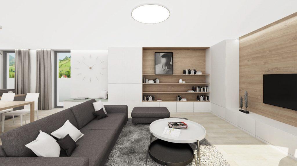 Jemná knižnica v neutrálnej obývačke