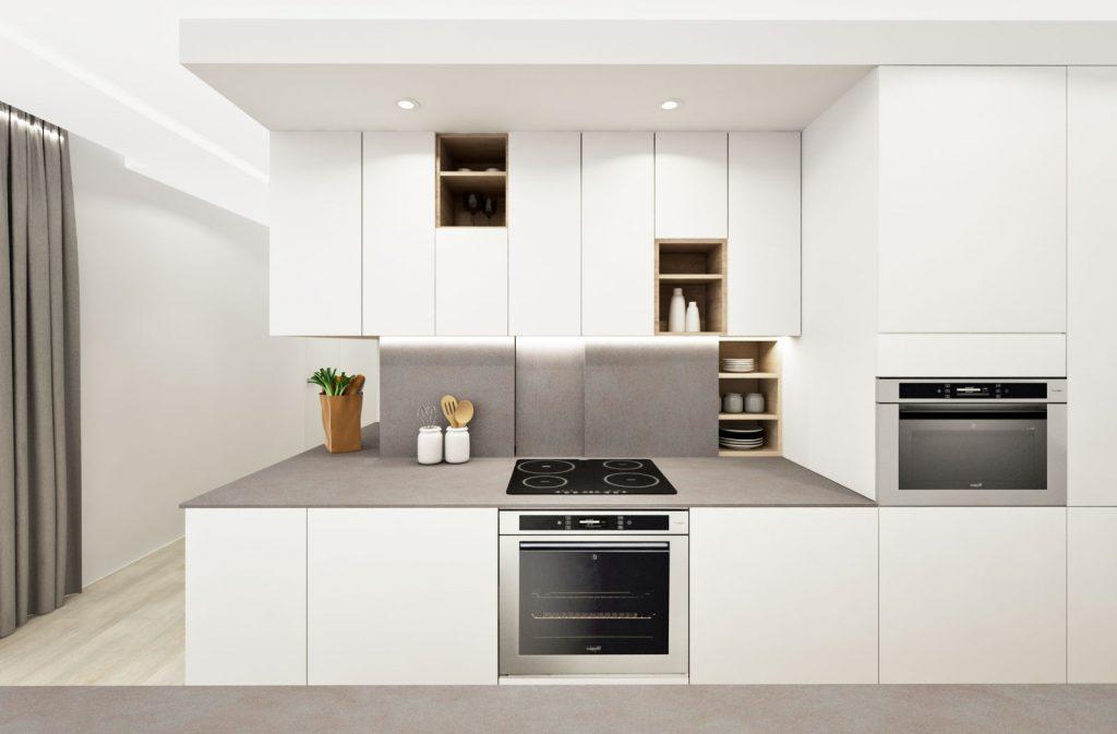 Kuchynská linka so skrytými úložnými priestormi