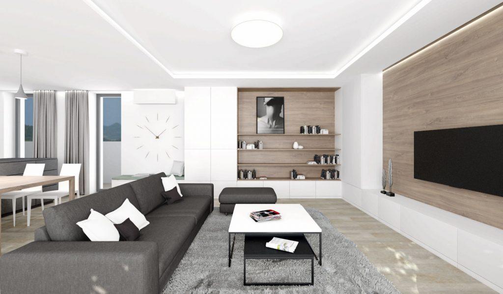 Kompozícia knižnice v modernej obývačke