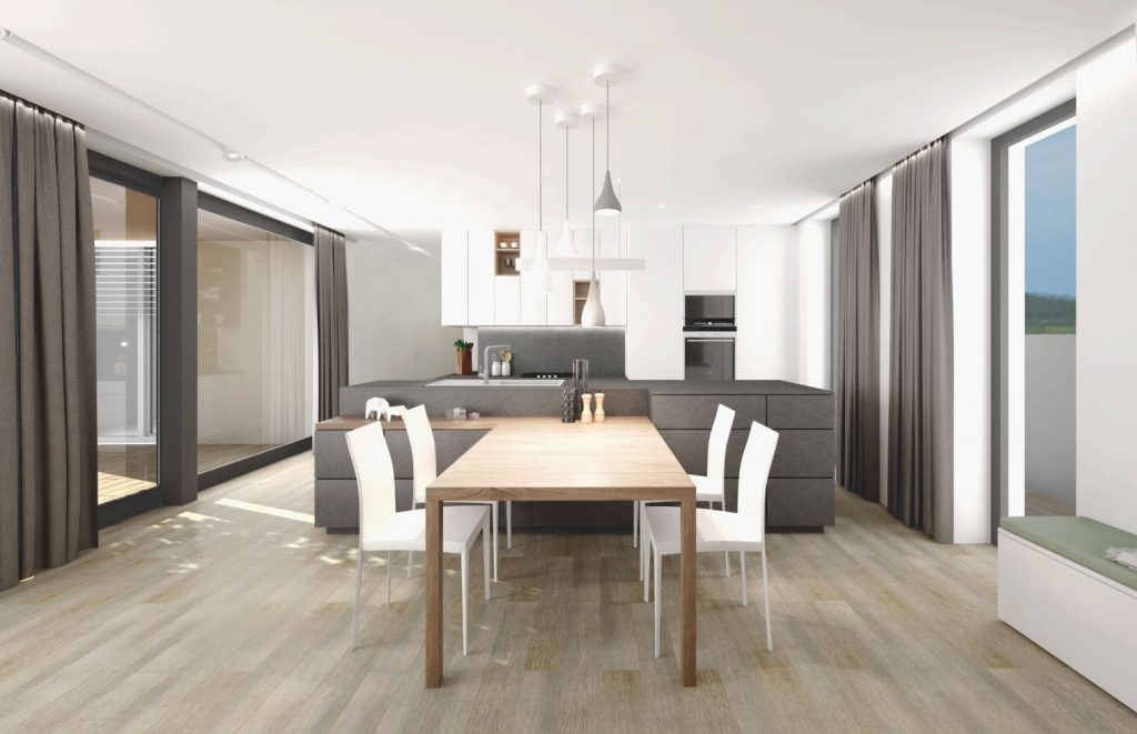 Drevený jedálenský stôl, betónový ostrov a biela kuchyňa