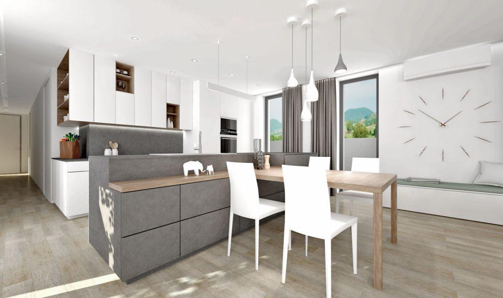 Prepojenie kuchynského ostrova a jedálenského stola