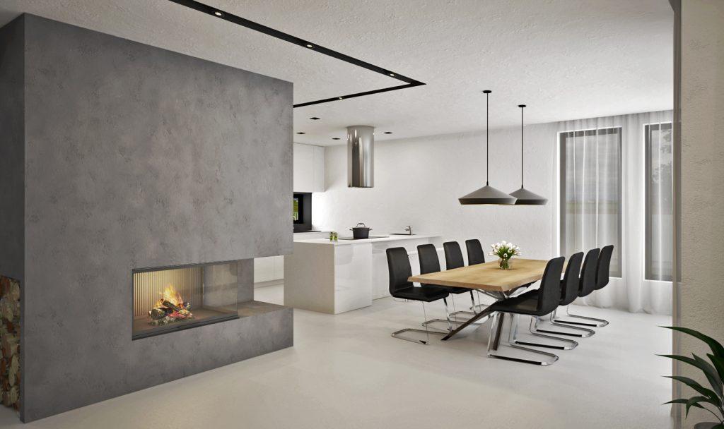Moderná jedáleň s kuchyňou