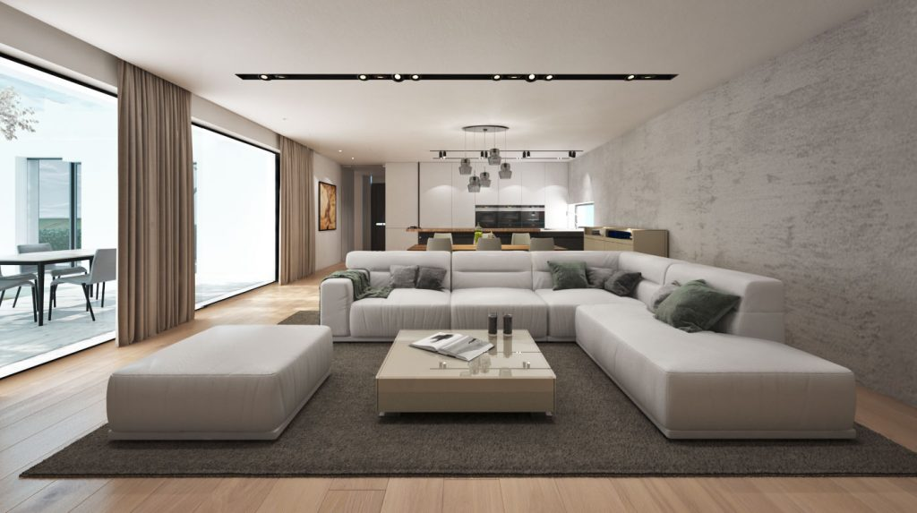Obývačka v neutrálnych tónoch so zemitými doplnkami