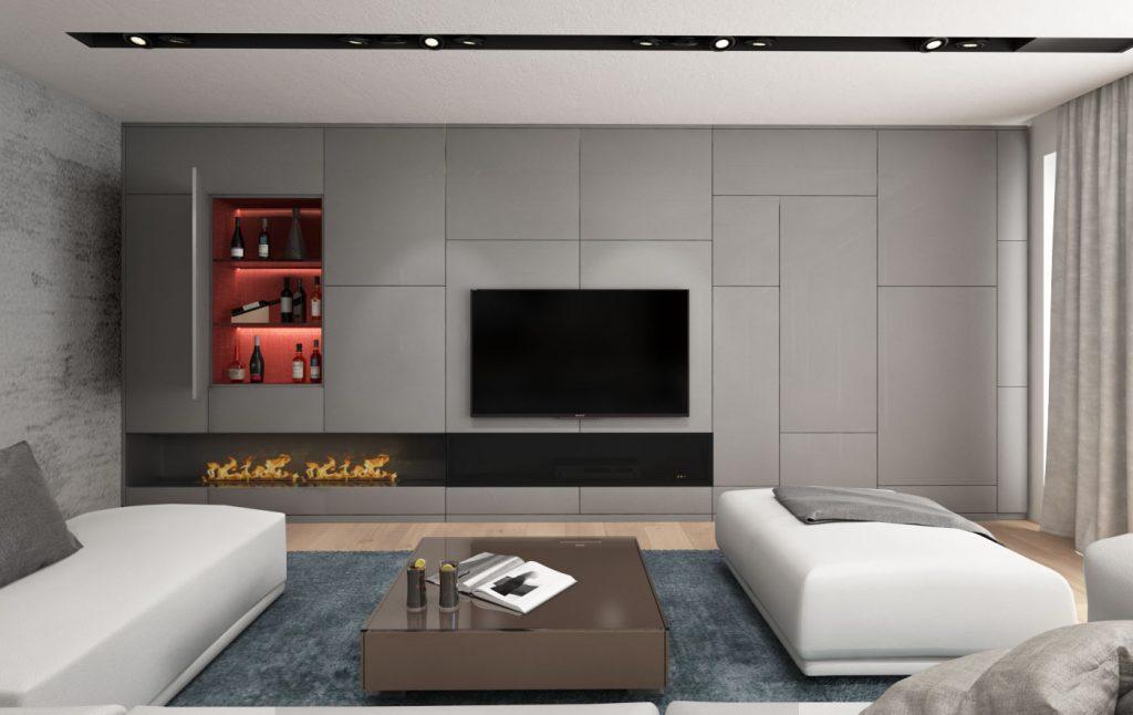 Moderná TV stena s biokrbom a skrytým barom