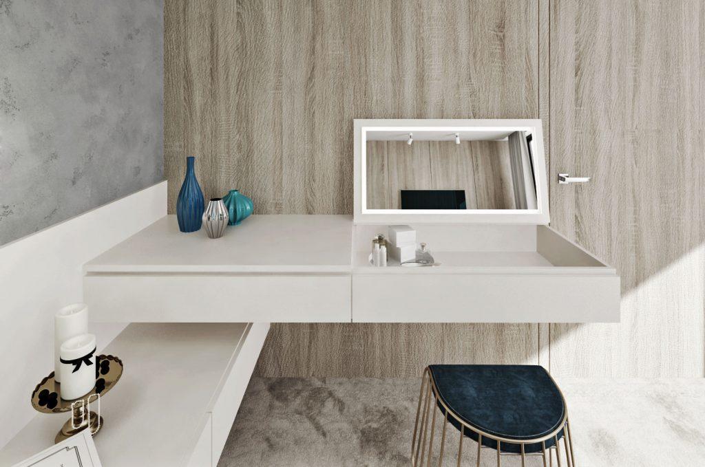 Kozmetický stolík v spálni detail