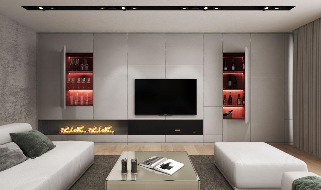 Predsadená TV stena s úložnými priestormi