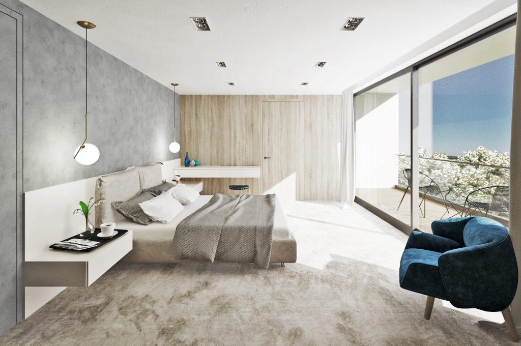 Jednoduchá kompozícia modernej spálne s kozmetickým stolíkom