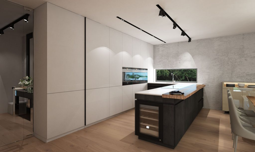 Kuchyňa v kombinácii betón- biela