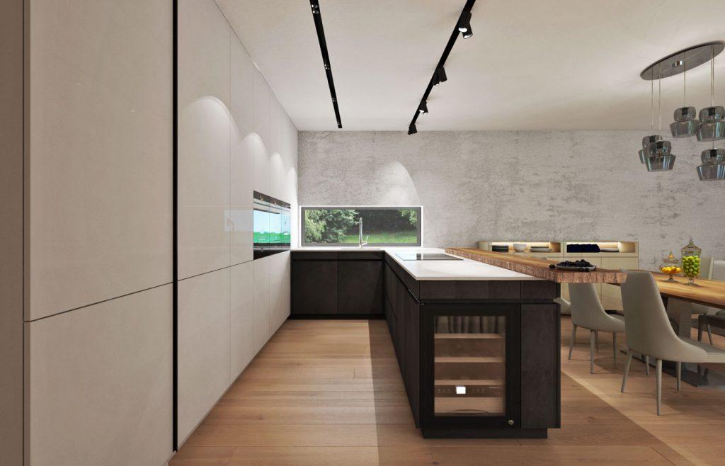 Kuchyňa so záfrezmi na otváranie