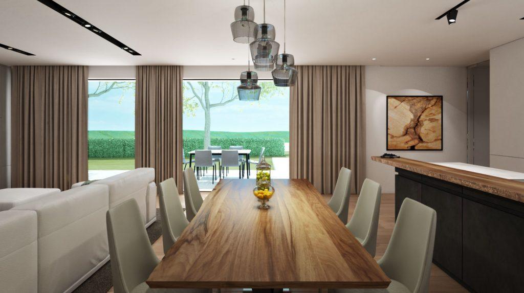 Drevený jedálenský stôl a výhľad do záhrady