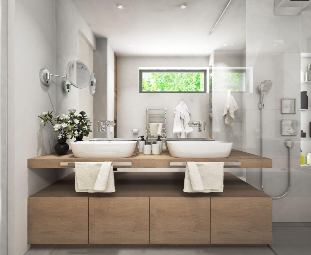 Drevená skrinka pod umývadlami a zrkadlo na celú stenu