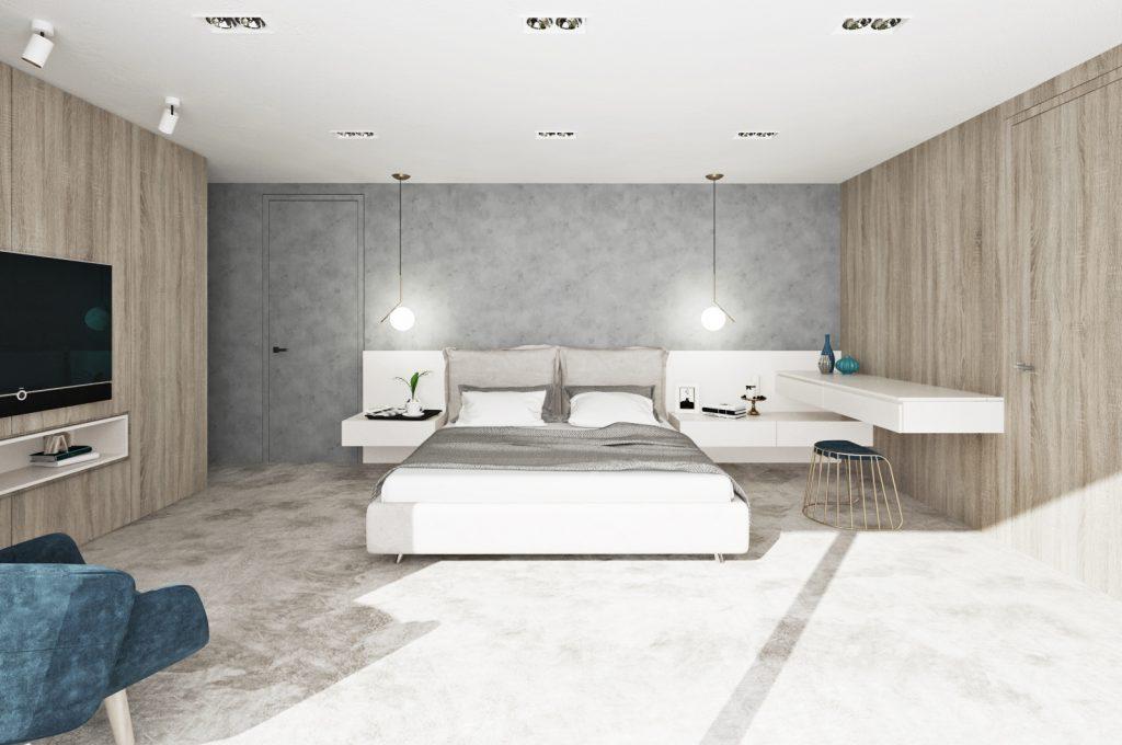Príjemný koberec v spálni a čalúnené záhlavie postele