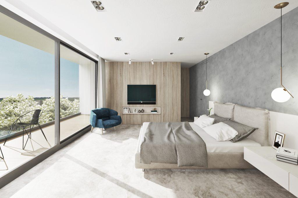Moderná útulná spálňa s drevom