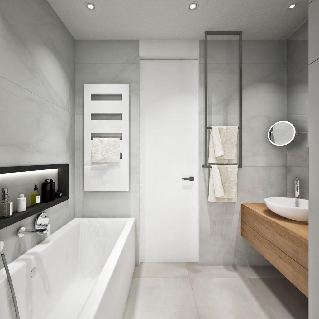 Kúpeľňa s netradičným držiakom na uterák