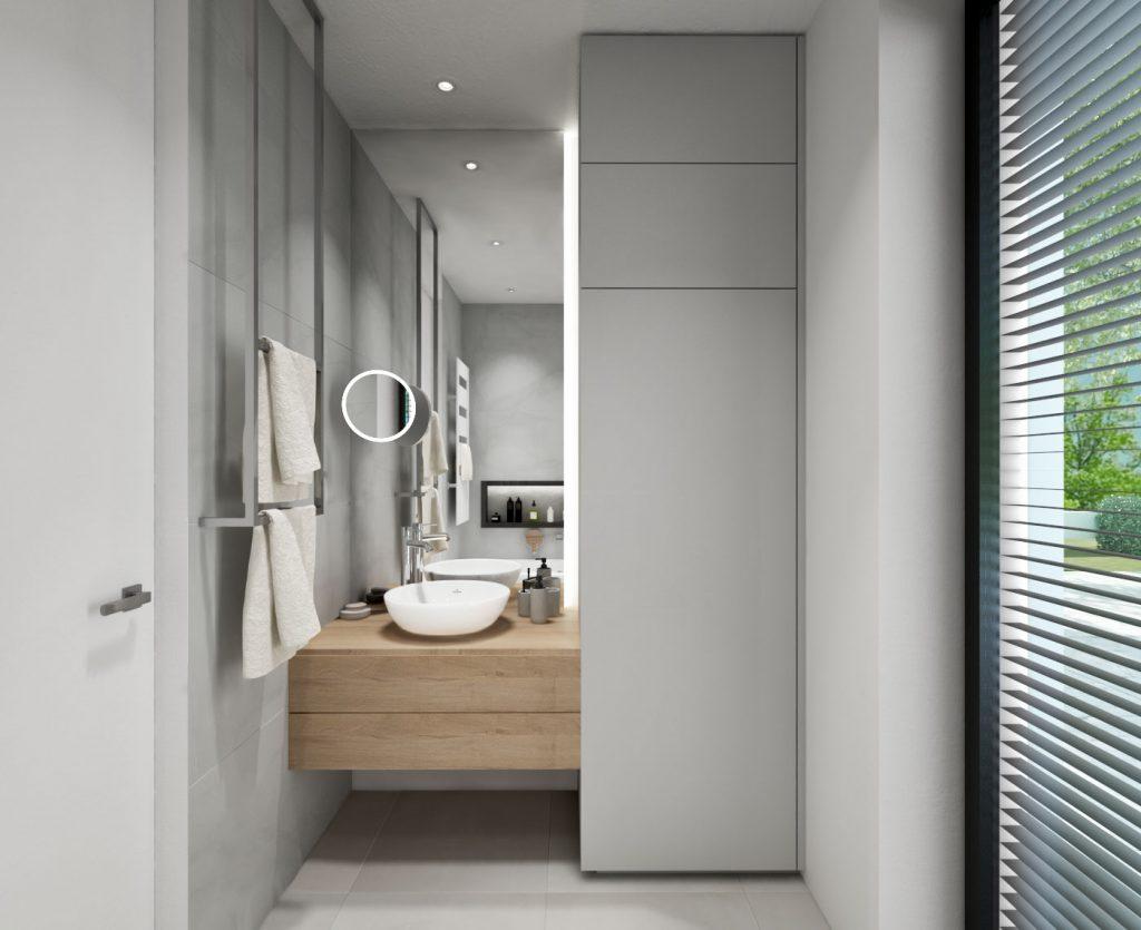 Drevená skrinka pod umývadlom a skryté pranie v skrini