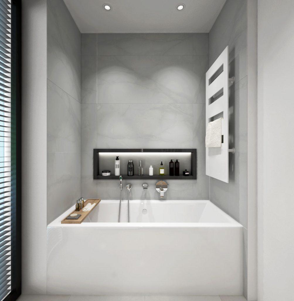 Moderná kúpeľňa- zaujímavá nika na šampóny