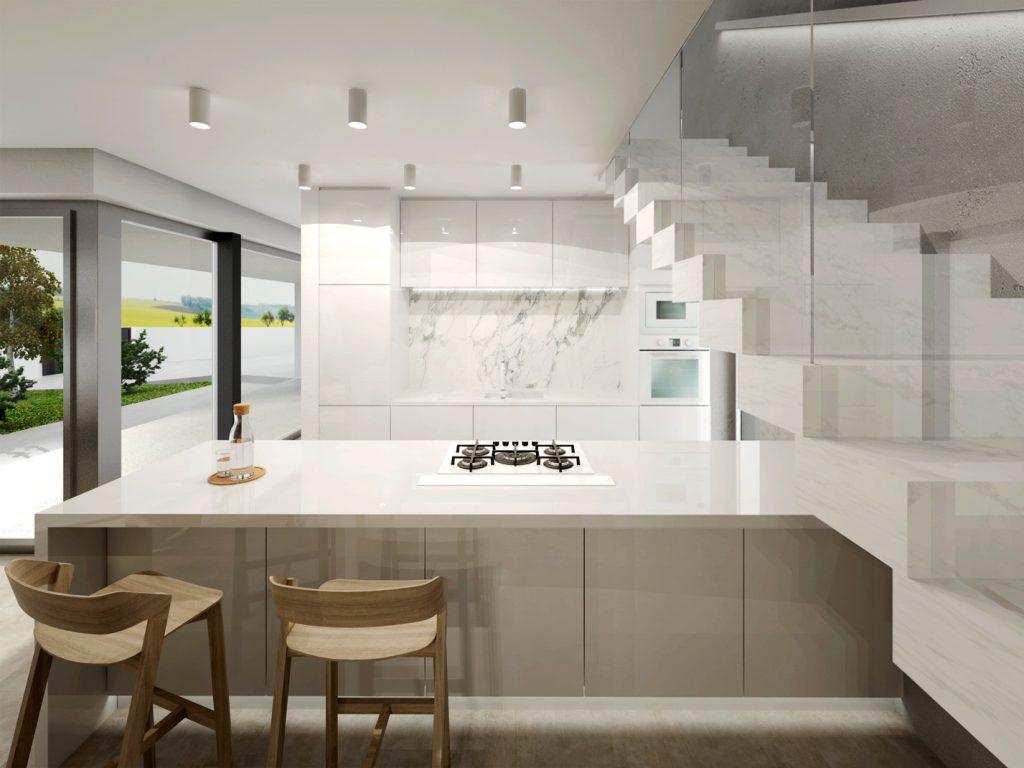 Moderná kuchyňa pri schodisku