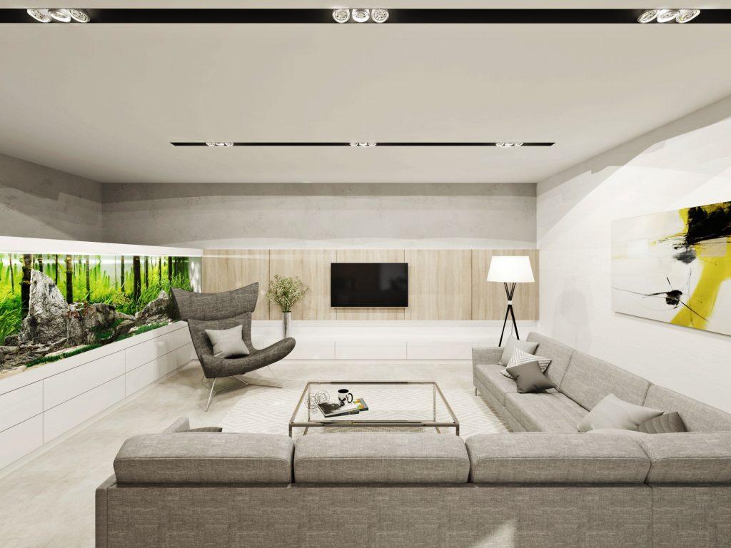 Prepojenie TV steny a akvária v modernej obývačke
