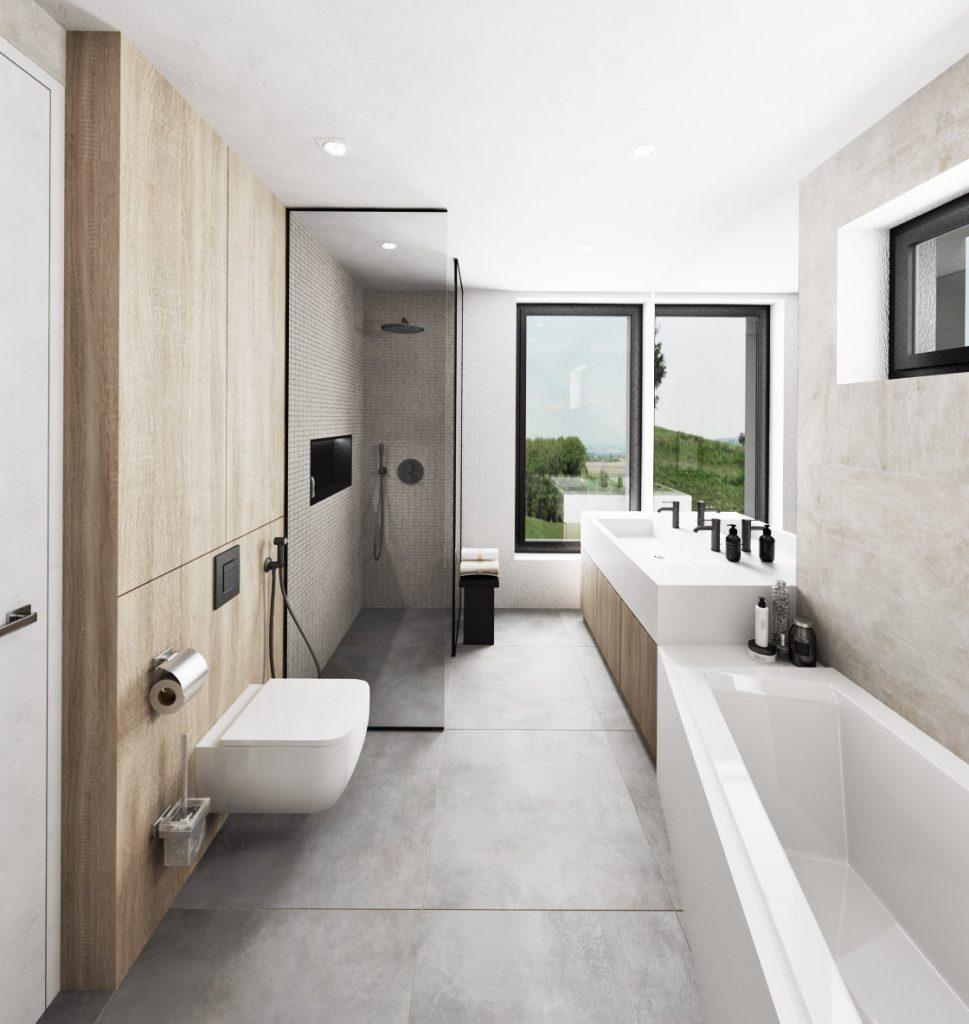 Moderná kúpelňa s asymetrickou vaňou