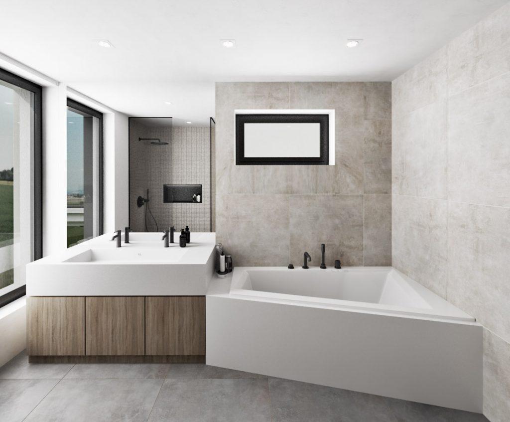 Prepojenie vane a umývadlovej skrinky v interiéri