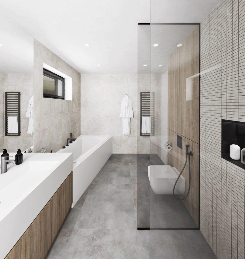 Jednoduché a čisté línie modernej kúpelne
